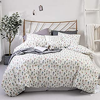 100% Cotton Duvet Cover Set - Floral Pattern Comforter Cover Set, Soft and Breathable Bedding Set with Zipper Closure & Corner Ties, 3pcs(1Duvet Cover+2 Pillow Case)-Wildflower, King
