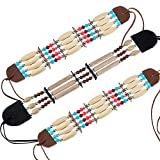 Hicarer 3 Piezas Accesorios de Trajes de Indiana Gargantilla Tribal Nativa Americana Collar de Cuentas de Tubo de Pelo Óseo Joyas Étnicas de Cuentas para Mujeres Niñas