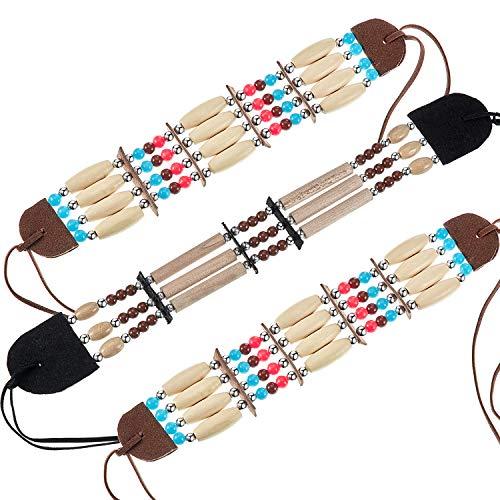 3 Stück Indianer Kostüm Zubehör Stammes Indianer Halsreif Knochen Haarpfeife Perlenkette Ethnische Perlen Schmuck für Frauen Mädchen