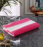 Lavish Street Cabana Stripe Large Bath Towel (30 x 60 Inches) - Luxury Bath Sheet - Pink