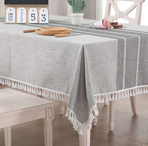 Vailge Tischdecke Rechteckige Tischtuch Leinendecke Leinen Tischdecke Abwaschbar, Tischdecken Wasserabweisend mit Quaste Edge Tischwäsche für Home Küche Dekoration (Grau, 140 x 220 cm)