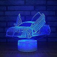ナイトライト 7彩变光小夜灯 スーパーレーシングカー7カラーランプ3DビジュアルLedナイトライトキッズタッチUsbテーブル夜の光 ランプ赤ちゃん睡眠モーションライト子供部屋、寝室の廊下などに適しています。子供たちの愛する同僚、親戚、友人への特別なプレゼントや誕生日プレゼントに最適です。