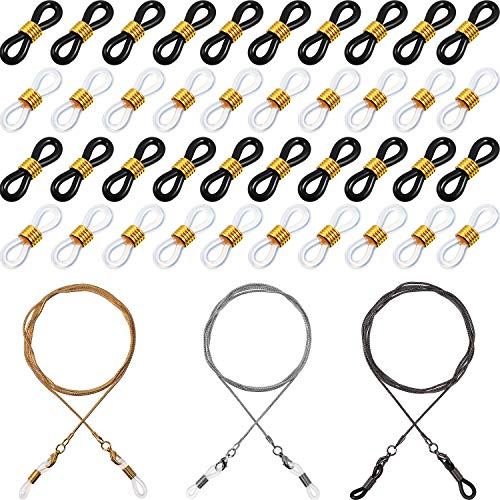 80 Pieces Eyeglass Chain Ends Adjustable Rubber Ends Connectors Anti-slip Rubber Ends Retainer and 3 Pieces Eyeglasses Chain for Adults Chirdren
