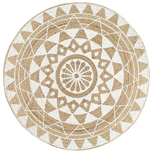 Tidyard Alfombra Yute Redonda Alfombra de Yute Exterior Alfombra de Yute Tejida a Mano 150 cm Natural y Estampado Blanco