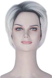 Miss U Hair Female Short Straight Wave Hair Black Gradient Blonde Dyeing Costume Wig