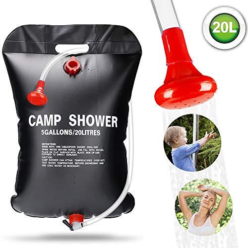 ASANMU Solar Campingdusche, 20L Solardusche Camping Tragbare Camping Dusche Tasche Warmwasser Duschsack mit Duschkopf Schlauch, Solar Heizung Wandern Wassersack Shower Outdoor Gartendusche Reisedusche