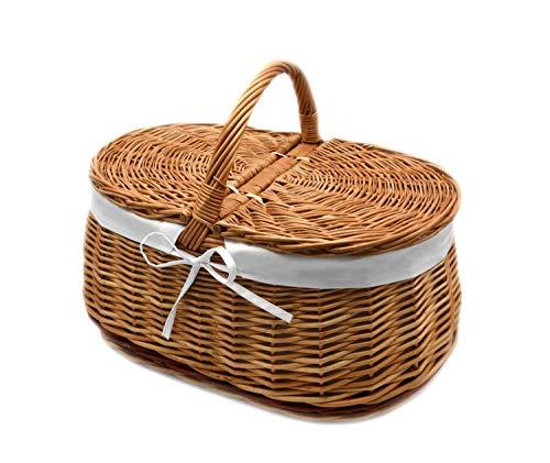 MyBer wilgenmand mand picknickmand stabiele draagmand met 2 gevlochten deksels K1-030-SW
