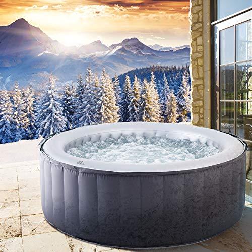 BRAST Whirlpool MSpa aufblasbar für 4 Personen SPA Ø180x70cm In-Outdoor Pool 118 Massagedüsen Timer Heizung Aufblasfunktion per Knopfdruck TÜV geprüft Bubble Spa Wellness Massage