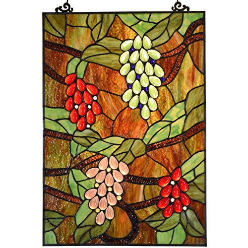 Bieye W10065 Grape Tiffany Style Stained Glass Window Hanging Panel, Rectangular Shape, 13.5' W x 19.5' H