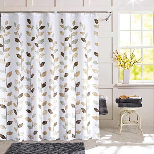 DESERT CAMEL Cute Leaves Shower Curtains Waterproof with 12 Metal Beads Rings Auto Bottom Drape Botanical Bathroom Curtain for Bath, Bathtub, Door, Dorm 72 x 72 in