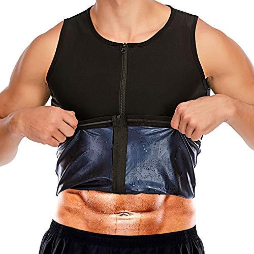 Men Waist Trainer Sauna Vest Sweat Body Shaper Slimming Polymer Weight Loss Zipper Tank Top Premium Workout Shirt