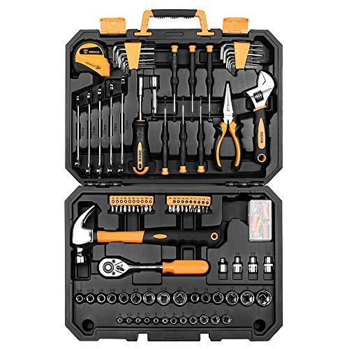 Set di utensili da 128 pezzi - Kits di attrezzi per uso domestico generico, set di strumenti di riparazione automatica, con custodia di plastica per attrezzi