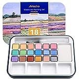 Artecho Juego de pintura de acuarela con 18 colores metálicos, incluyendo lápiz de cepillo de agua, esponja y tabla de colores en blanco en papel de acuarela, estuche de lata ligera y portátil