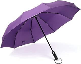 Automatic Umbrella Large Windproof Double Umbrella Rain and rain Umbrella Black, Blue, Purple Optional HYBKY (Color : Purple)