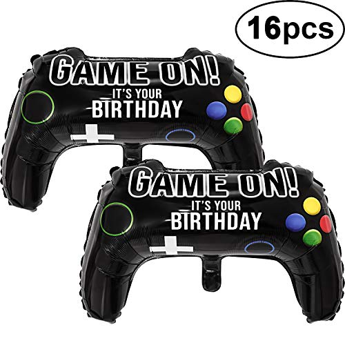 16 Packs Video Game Party Balloons, 23.6 x 15.7 Inch Game on Balloons Video Game Controller Aluminum Foil Balloon for Birthday Party and Game Party Decoration (16 Packs, Video Game Balloons)