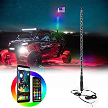 AddSafety 5FT(1.5M) LED Whips Light with Dacning/Chasing and Can Controlled by Remote and app Simultaneously with Lock Function