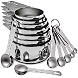 Stainless Steel Measuring Cups and Spoons Set of 17 Pieces - 7 Nesting Cups and 7 Stackable Spoons -...