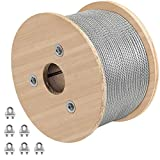 VEVOR Galvanized Steel Cable, 3/16'' Aircraft Cable, 500ft Galvanized Cable 7x19 Construction Steel Wire Cable w/Cable Clamps, 4400lb Breaking Strength for Railing Decking, Lifting, Hanging, Fencing