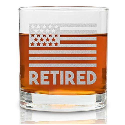 Retirement Gifts For Men and Women - Permanently Engraved 11 oz Glass - USA Flag Glass Military Retirement Gift Idea- Wish A Happy Retirement for Army/Navy/Airforce/Marines/Coast Guard - On The Rox