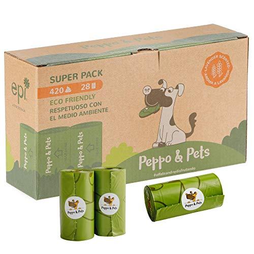 Peppo and Pets- 420 Bolsas Caca Perro -(28 Rollos) - Biodegradables- Muy Resistentes - Olor a Lavanda- Opacas- A Prueba de Fugas