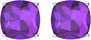 2.6Ct Amethyst Stud Earring, Bridesmaid Wedding Earring, SGL Certified Cushion Shape Birthstone Earring, Bridal Statement Earring, Anniversary Earring, Screw Back