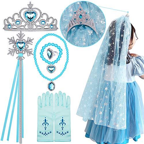 Tacobear Prinzessin Eiskönigin ELSA Kostüm Zubehör Set Prinzessin Krone Zauberstab Handschuhe Halskette Armband Prinzessin Frozen ELSA Schmuck für Kinder Mädchen Karneval Party Halloween