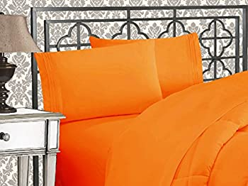 Elegant Comfort Luxurious 1500 Thread Count Egyptian Quality Three Line Embroidered Softest Premium Hotel Quality 4-Piece Bed Sheet Set Wrinkle and Fade Resistant Queen Orange