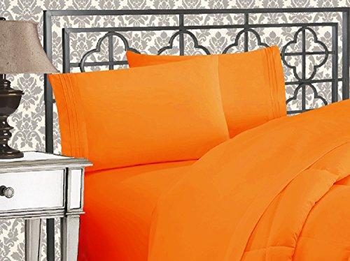 Elegant Comfort Luxuoso jogo de cama de 4 peças de qualidade egípcia de 1500 fios com três linhas bordadas, qualidade de hotel, resistente a rugas e desbotamento, Queen, laranja
