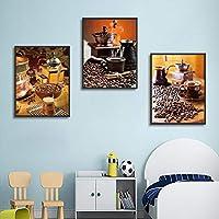 コーヒーグラインダーとコーヒーカップアート写真のポスターとキャンバスにプリントホームベッドルームリビングルームオフィス装飾壁画3Psc /セット