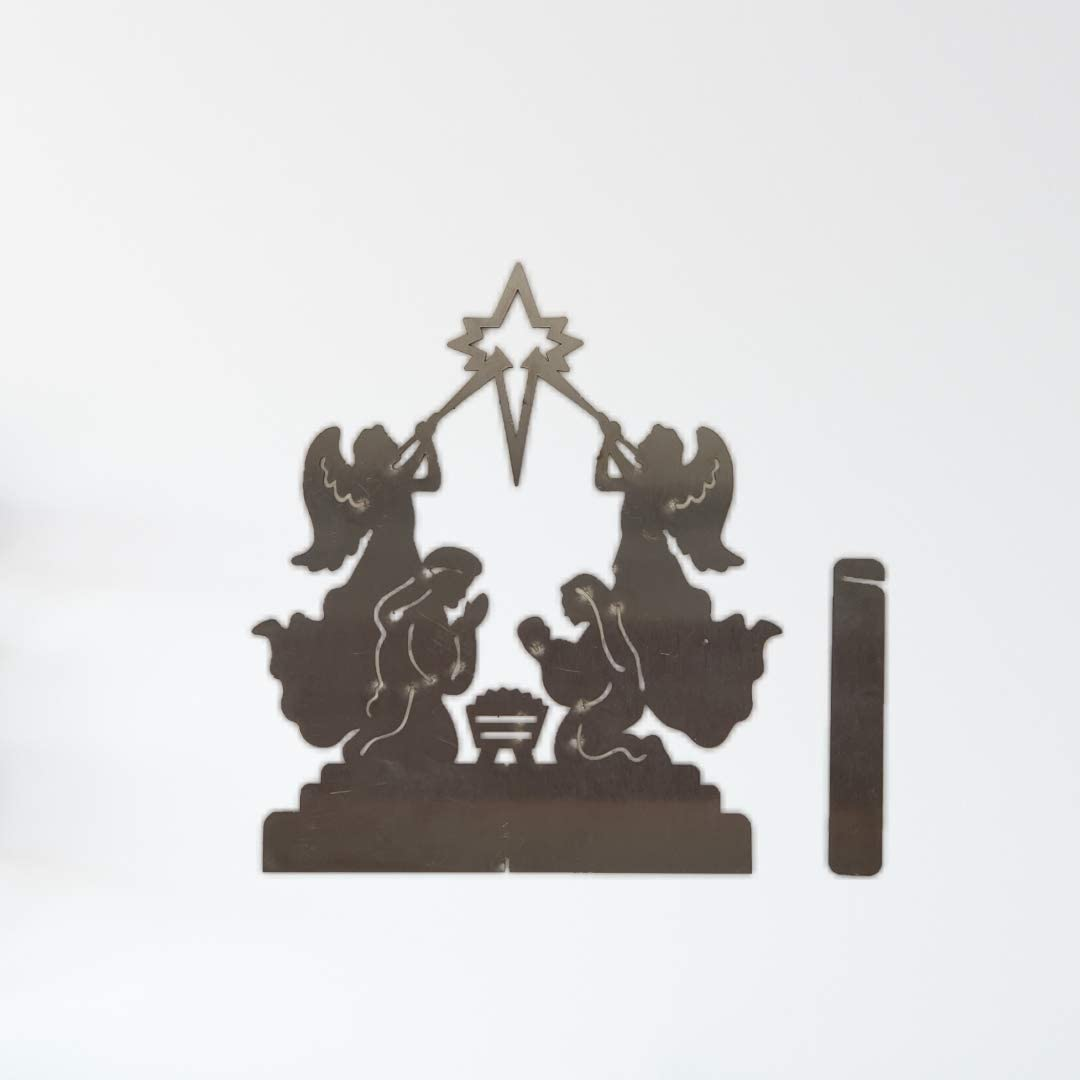 Small Angels Burnett Metal Art Rustic Stainless Steel Nativity Scenes