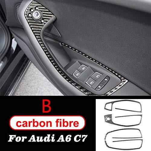 DHFBS Koolstofvezel Auto-interieur Decoratie Raam Schakelaar Bedieningspaneel Versieringen, Voor Audi A6 C7 Accessoires Auto Styling Stickers