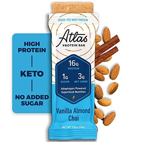 Atlas Protein Bar - Keto Friendly, Vanilla Almond Chai (10-Pack) — Grass...