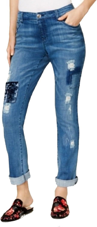 INC International Concepts VelvetPatch Boyfriend Jeans
