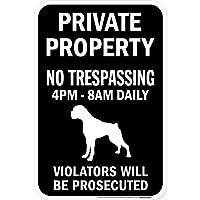 PRIVATE PROPERTY ブラックマグネットサイン:ボクサー(垂れ耳) シルエット 英語 私有地 無断立入禁止