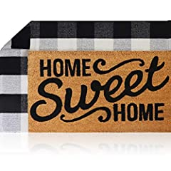 The Perfect Combination Decor Set: 100% Coco Coir Welcome Mat + Buffalo Plaid Outdoor Farmhouse Rug. Use them together or separate them for your indoor or outdoor floor needs. 1x - Home Sweet Home Door Mat: Included (1) 100% natural pure coconut coir...