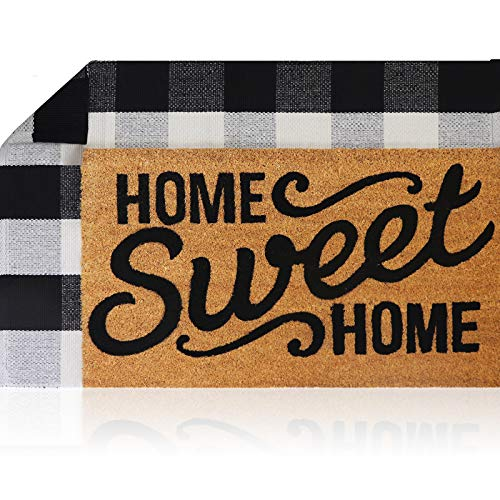 Sierra Concepts Welcome Mat Outdoor Front Door Mats Spring 30 x 17 + Buffalo Plaid Rug Checkered Layered Black and White Floor Combo Set - Non Slip Entryway Indoor Outdoors Mats Home Sweet