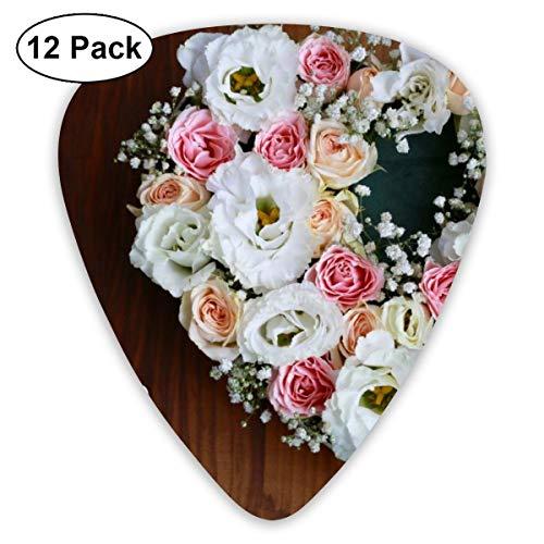 Gitaar Pick Bruiloft Bloemen Met Ring 12 Stuk Gitaar Paddle Set Gemaakt Van Milieu Bescherming ABS Materiaal, Geschikt voor Gitaren, Quads, Etc