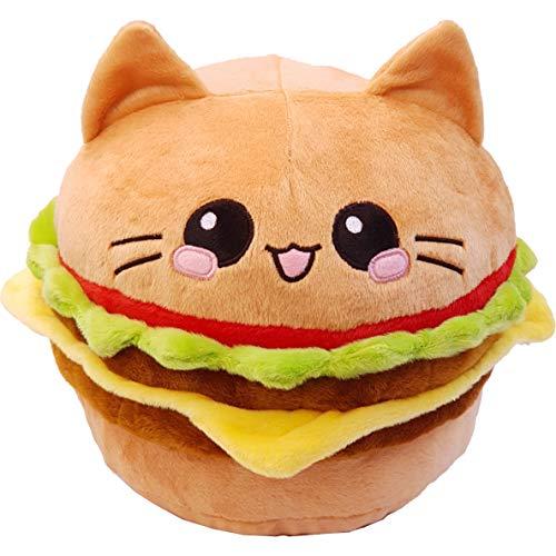 moodrush® XL Burger Cat Katzen-Burger Kissen Cheeseburger | alle Elemente aufgestickt (Nicht Bedruckt!) | waschbar | ca. 35x35x25 cm