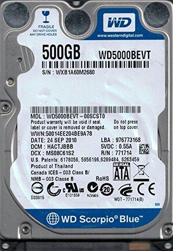 Western Digital WD5000BEVT-00Scst0 500Gb Dcm: Hactjbbb