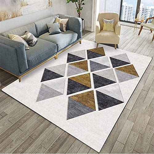 MLKUP Floor Mat Geometric Pattern Coffee Table Bedroom Bedside Foot Pad Suitable For Bedroom Bathroom Living Room Hotel Kindergarten 50x80cm