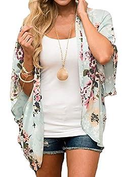 Relipop Women s Sheer Chiffon Blouse Loose Tops Kimono Floral Print Cardigan