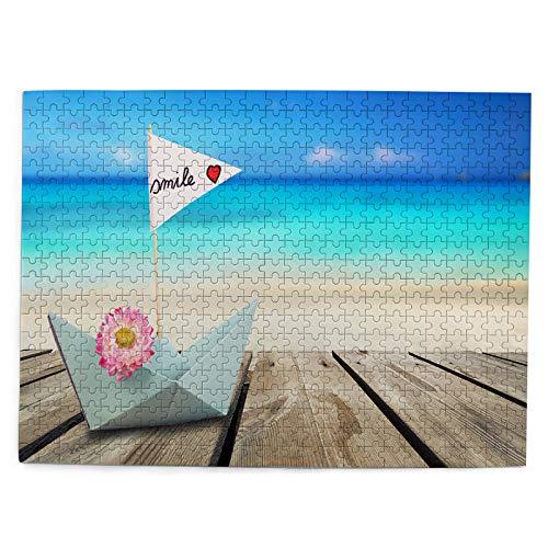 huagu Puzzle 500 Piezas-Rompecabezas Adultos-Barco de Papel Sonrisa Vela Turquesa océano-Juegos Educativos-Entretenimiento,Niños y Adolescentes,Divertido Regalo