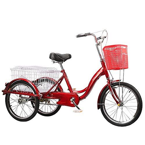 NAINAIWANG Triciclo para Adultos Bicicleta para Adultos Bicicleta 3 Ruedas Bicicleta Asiento Ciudad Bici Fácil de Montar con Trae Dos Cestas For Personas Mayores, Mujeres, Hombres