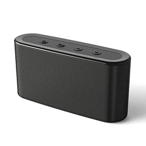 Bluetooth Speaker Portable Wireless NOVOO Bluetooth 5 Speaker Loud Volume, Stereo Sound, Rich Bass, IPX4 Waterproof Speaker, Built-in Mic, 12H Playtime Wireless Speaker for Home, Outdoor, Travel-Black