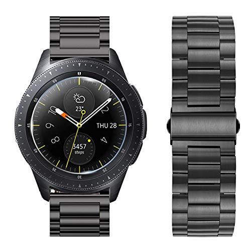 iBazal 20mm Cinturino Metallo Rilascio Rapido Cinturini Acciaio Bracciale Compatibile Galaxy Watch 42mm/Active/Gear Sport/Gear S2 Classic/Huawei Watch 2/Ticwatch/Garmin/Moto/Pebble/Fossil/Nokia - Nero