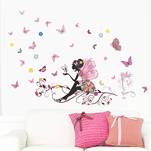 Fairy Pink Butterfly Wall Art Door Stair Living Room Bedroom Decor Woman Teenager Baby Girl Kids Children Nursery Decal Wall Sticker Murals Poster Wallpaper