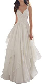 Wedding Dress Lace Bridal Dresses Beach Ruffles A line Wedding Gown with Straps