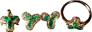 Faceted Emerald Pendant with Tops and Finger Ring Set - 18 K Gold