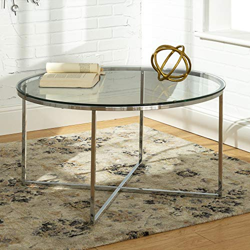 Walker Edison Furniture Company Modern Round Coffee Accent Table Living Room, Glass/Chrome