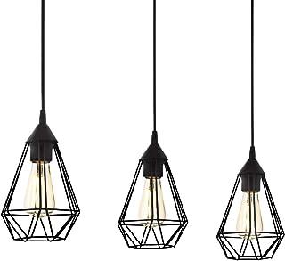 Lámpara de suspensión EGLO TARBES vintage en negro, lámpara colgada de comedor con 3 bombillas en estilo retro, lámpara suspendida de acero, lámpara colgante con casquillo E27